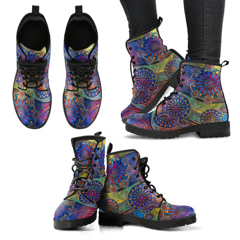 Geometric Mandala Women's Leather Boots