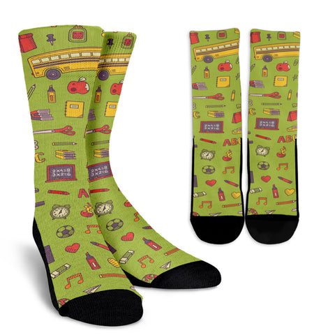 Back 2 School Green Crew Socks
