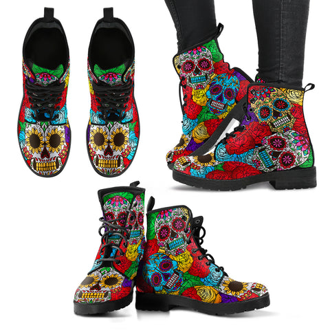 Rainbow Skull Floral Pattern Women's Leather Boots