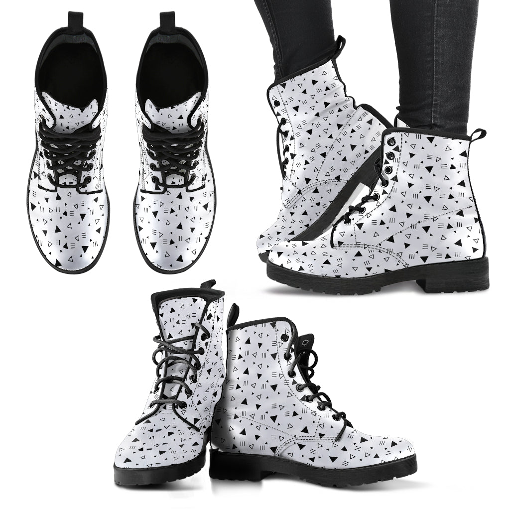 Triangles Black & White P1 - Leather Boots for Women