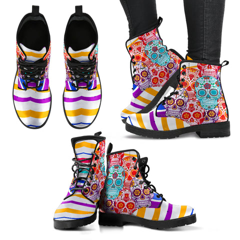 Colorful Skulls With Strips Women's Leather Boots