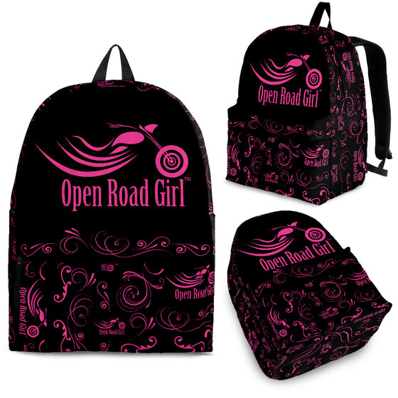 PINK Open Road Girl Scatter Design Backpack