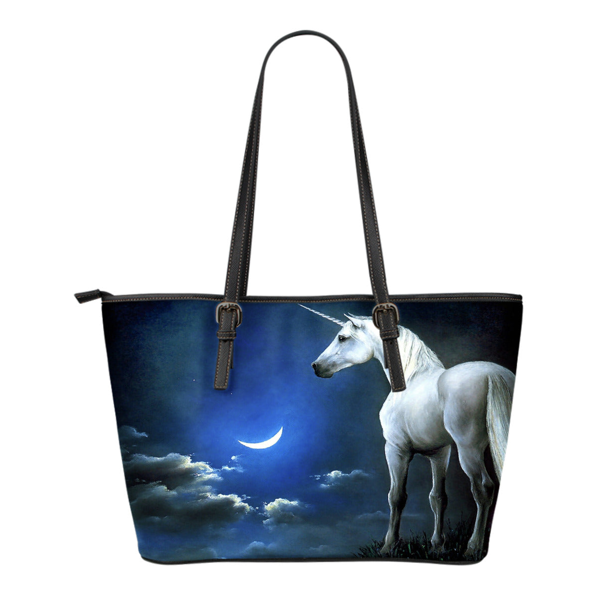 Unicorn Blue Small Leather Handbag