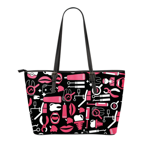 Dental Hygienist Small Leather Tote Bag