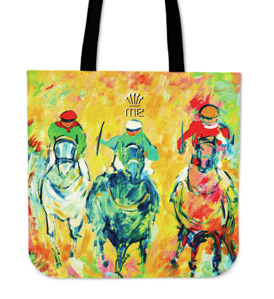 Yellow Three Horse Racing Tote Bag