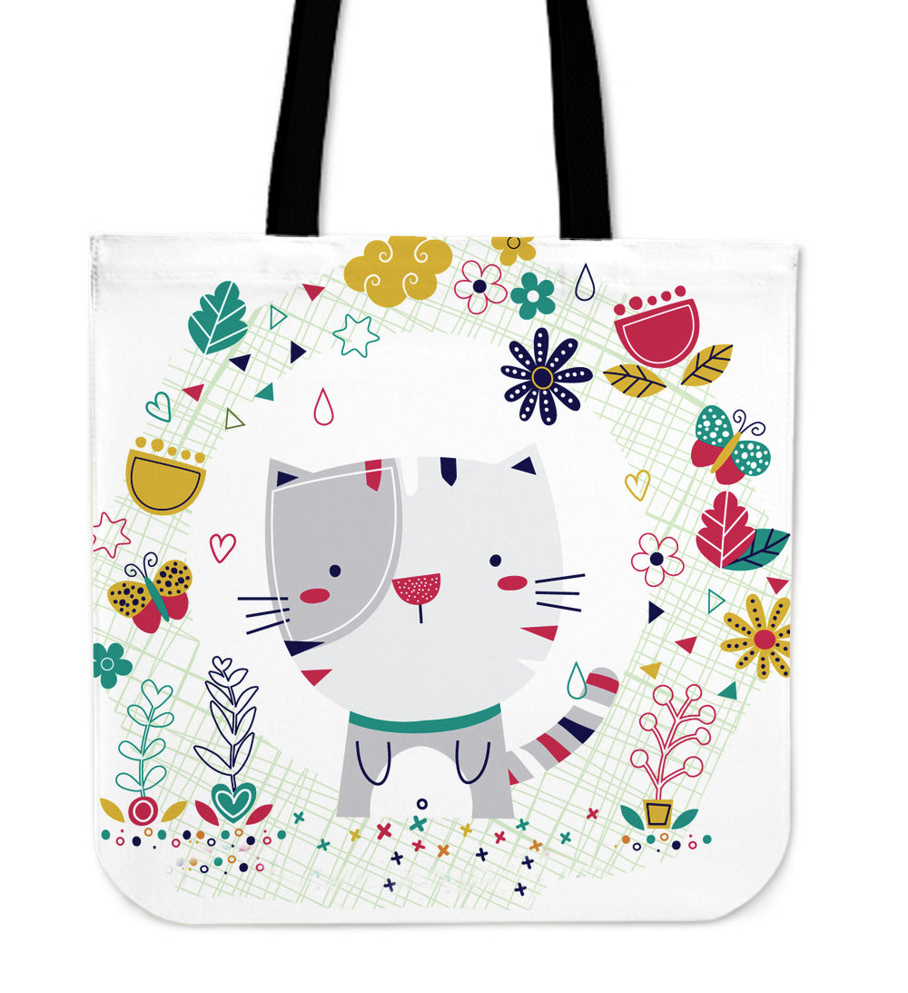 Cute Kitty Canvas Tote Bag