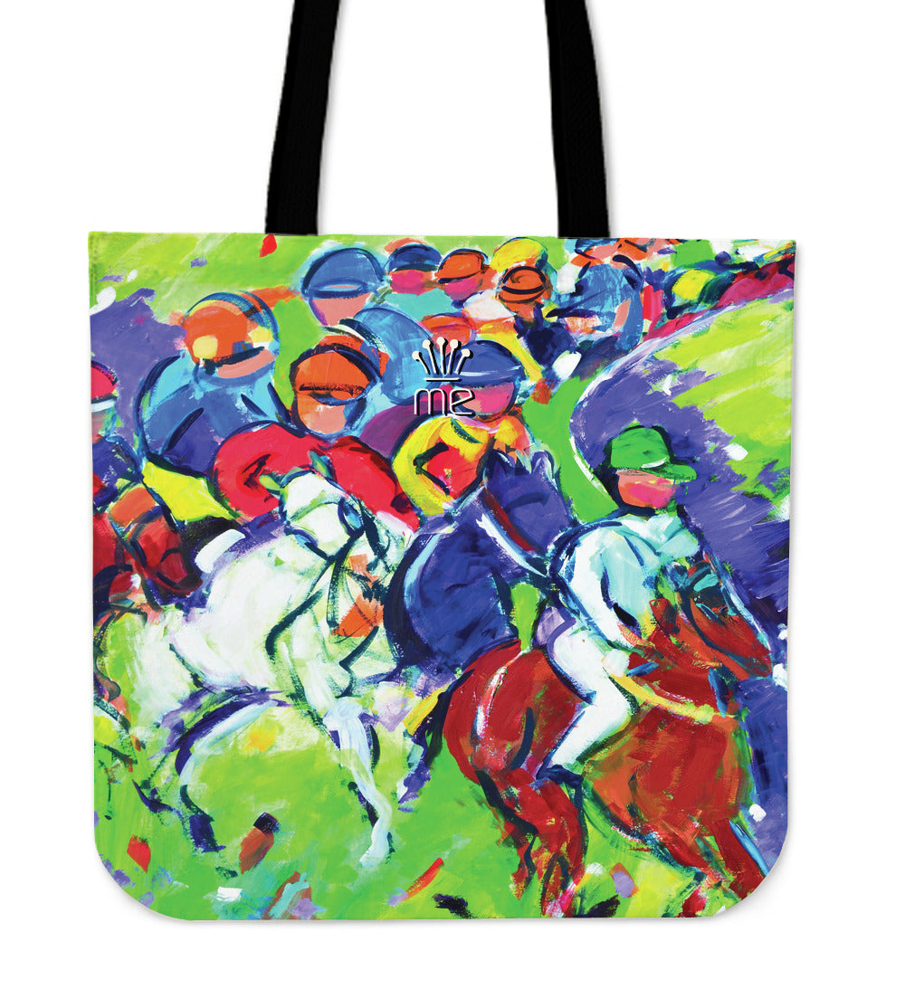 Green Horse Racing Tote Bag