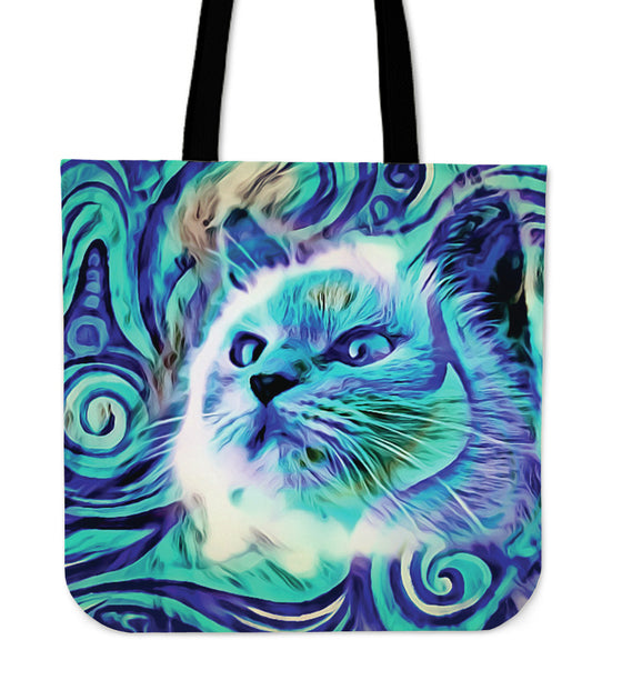 Blue Cat Tote Bag