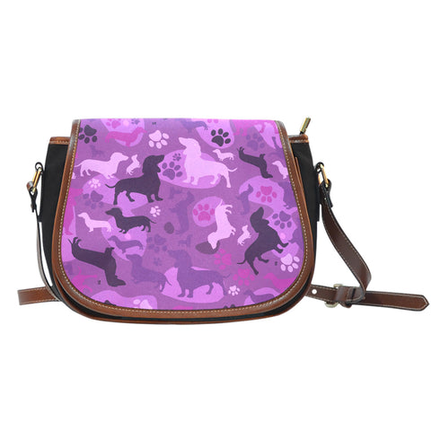 Dachshund Pink Camo Saddle Bag