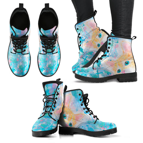 Watercolor Cat Women's Leather Boots