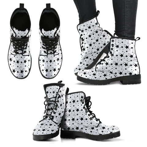 Stars Black & White P1 - Leather Boots for Women