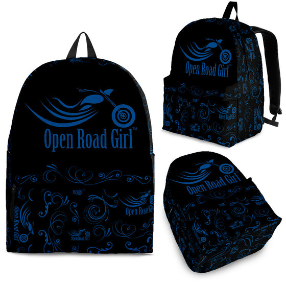 ROYAL BLUE Open Road Girl Scatter Design Backpack