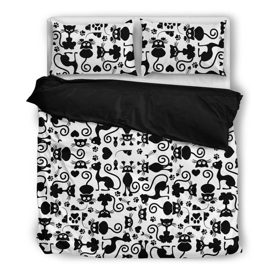 Cats White Bedding Set