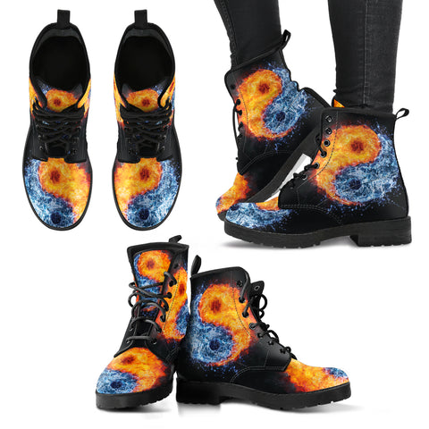 Fire Water YinYang Handcrafted Boots