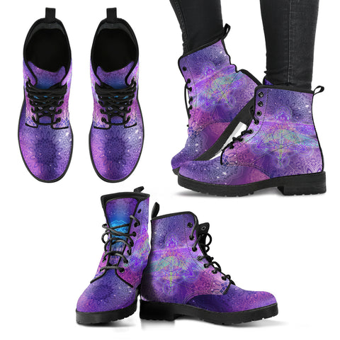 Glowing Mandala Dragonfly Women's Leather Boots