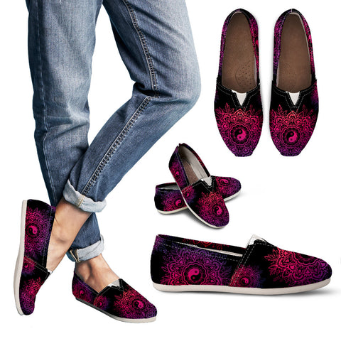 Black Neon Yin Yang Women's Casual Shoes