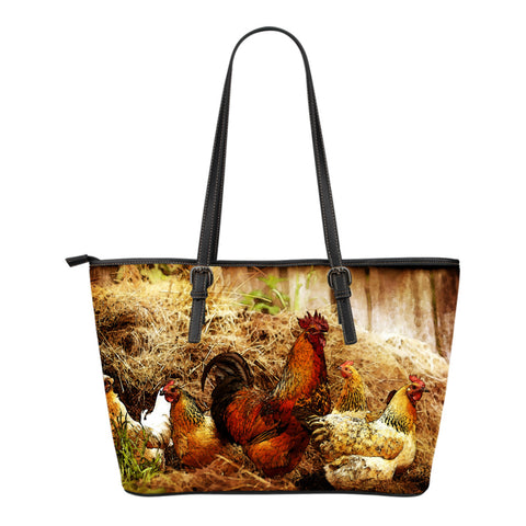 Cock and Hens Small Leather Tote Bag