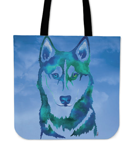 Husky Watercolor Tote Bag