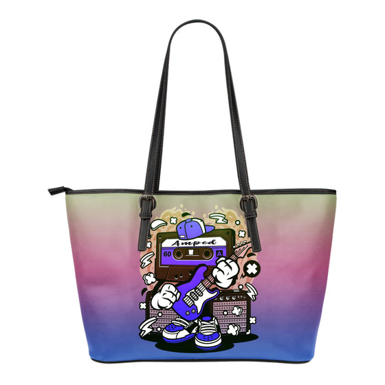 Amped Guitar Leather Tote Bag for Musicians and Music Freaks