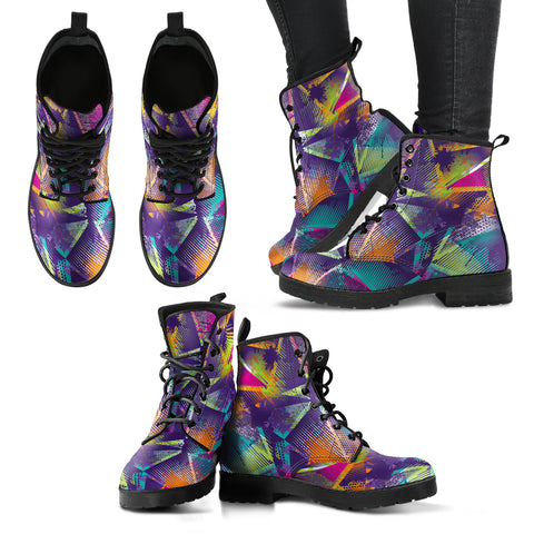 Colorful Geometric Women's Leather Boots