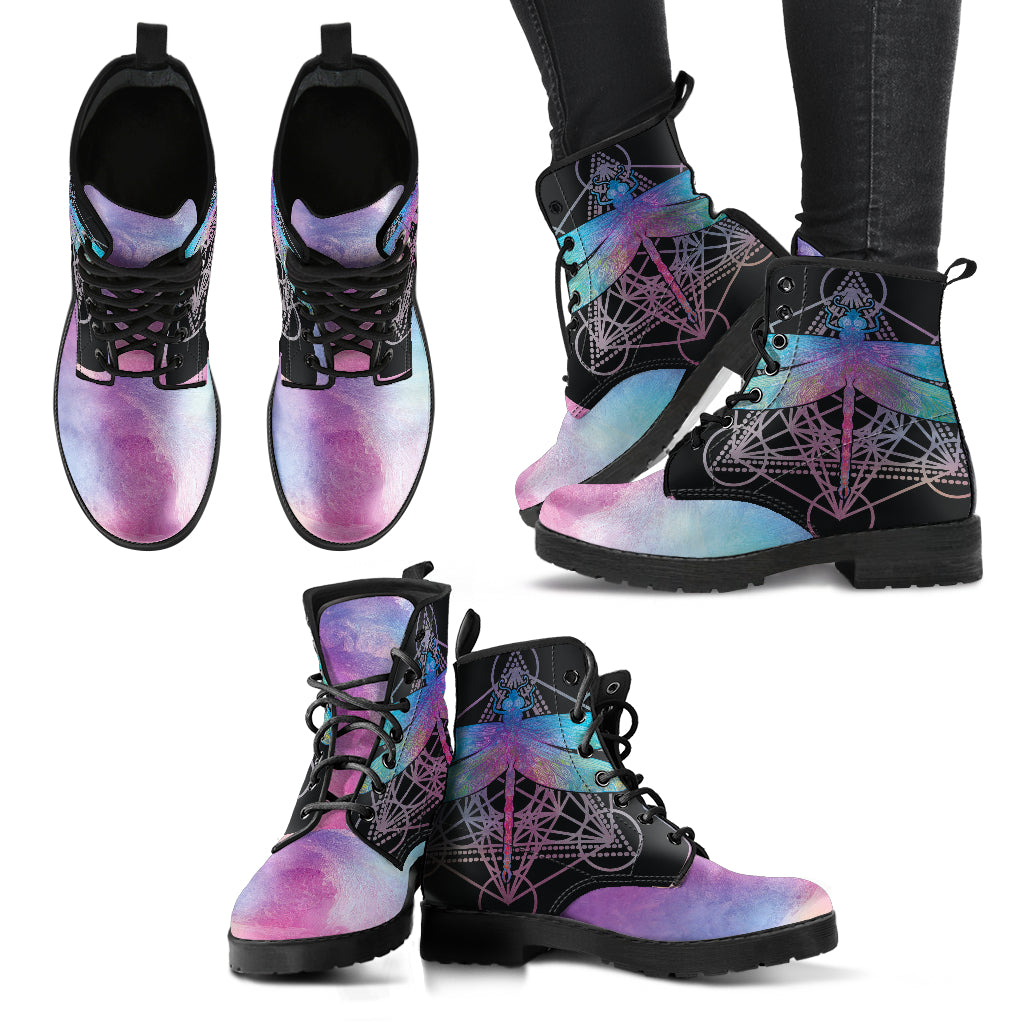 Watercolor Dragonfly Women's Leather Boots