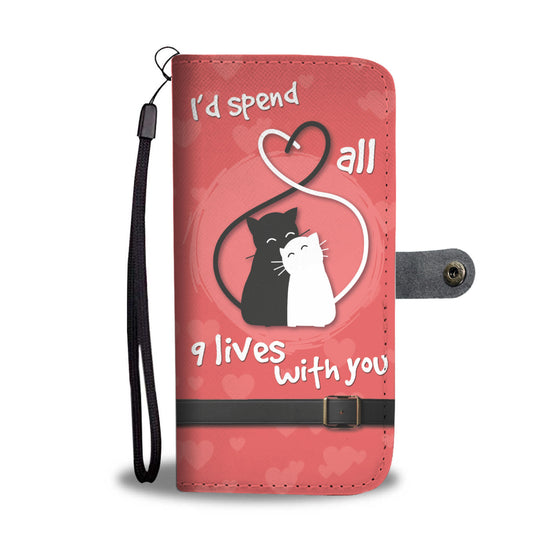 Nine Lives Cat Wallet Case