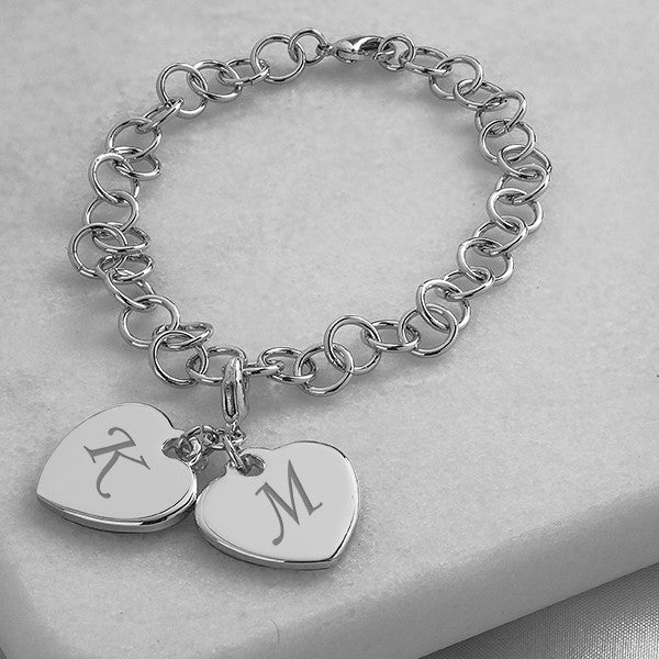 Personalized Double Heart Charm Bracelet