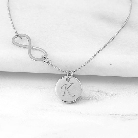 Silver Personalized Infinity Necklace with Charm