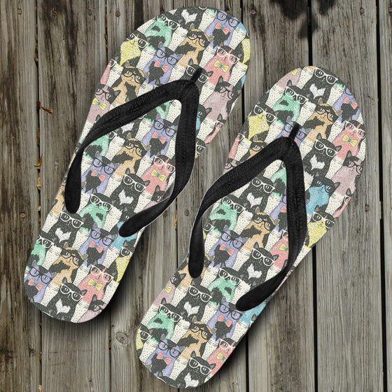 Cat Glasses Flip Flops