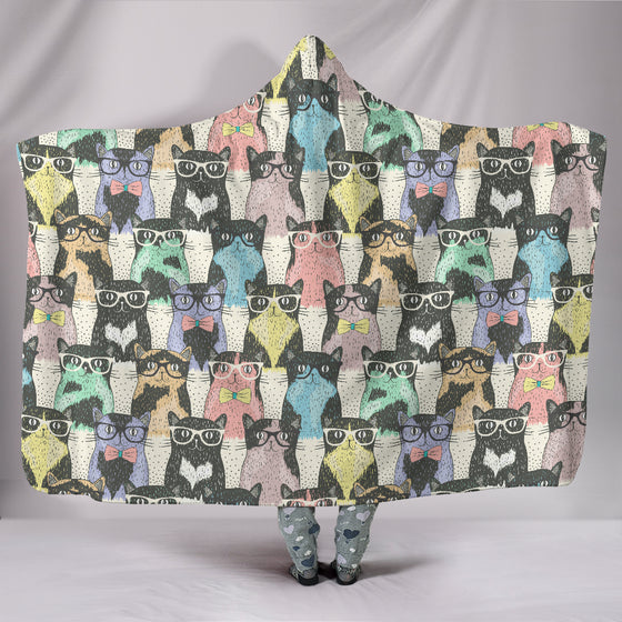Cat Glasses Hooded Blanket