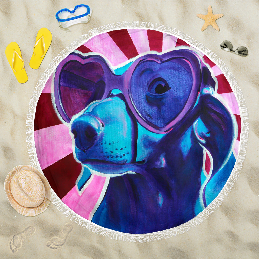 Sunglass Doxie Beach Blanket