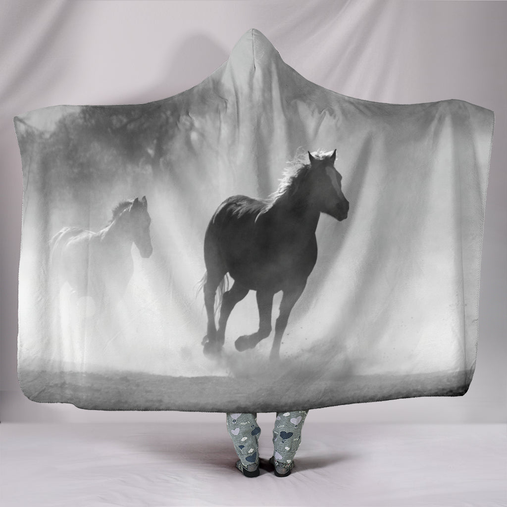 Clouded Horse Hooded Blanket