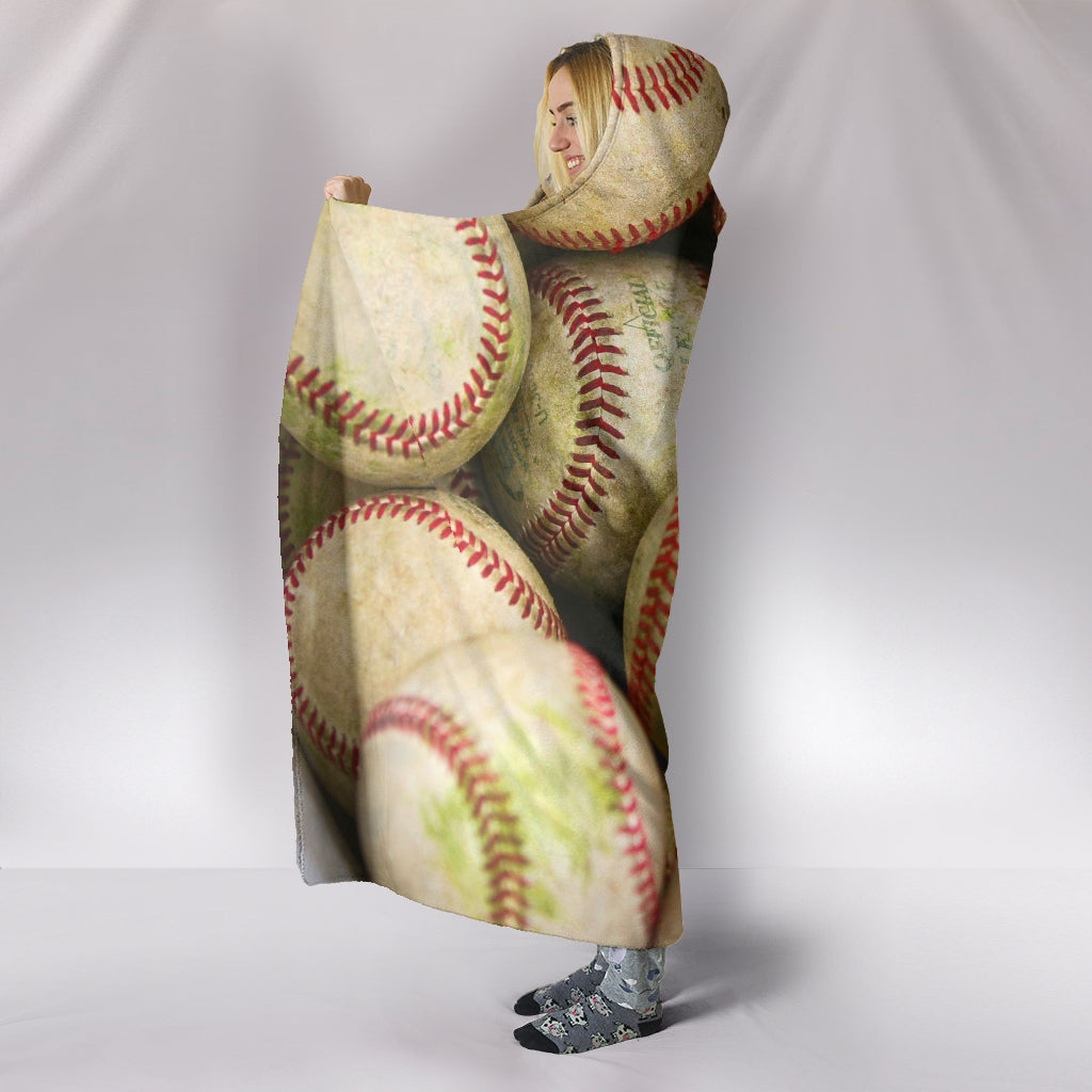 Bucket of Baseballs Hooded Blanket