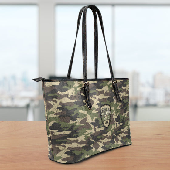 Army Mom Camouflage Large Leather Tote Bag