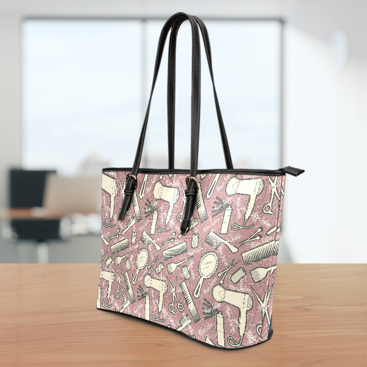 Hair Salon Large Leather Tote Bag