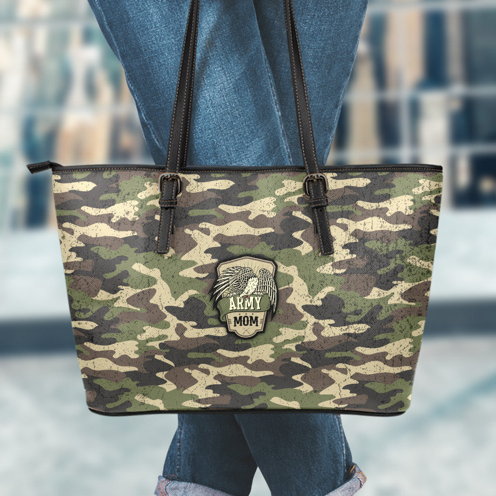 Army Mom Camouflage Small Leather Tote Bag