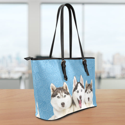 Huskies Small Leather Tote Bag