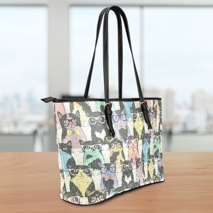 Cat Glasses Small Leather Tote Bag