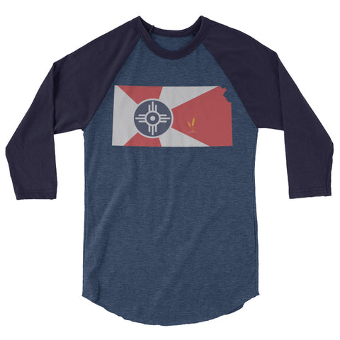 Wichita Flag 3/4 Sleeve Raglan Shirt