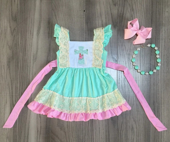 Easter Cross Ruffled Dress with Accessories