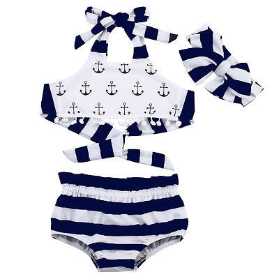 3-Piece Anchor Top Swimsuit with Headband