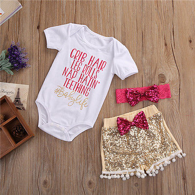 #BabyLife Romper Sequin Shorts Outfit