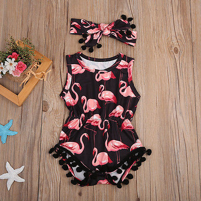 Flamingo Pom Pom Romper with Headband