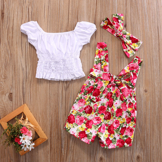 Floral Overall Shorts with Shirt & Headband