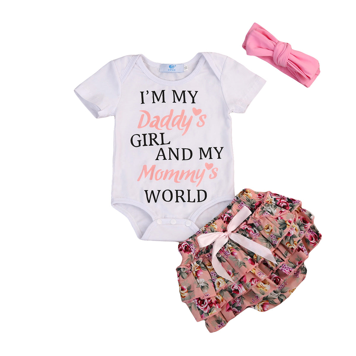 Baby Girls Onesie + Floral Shorts +Headband Outfit