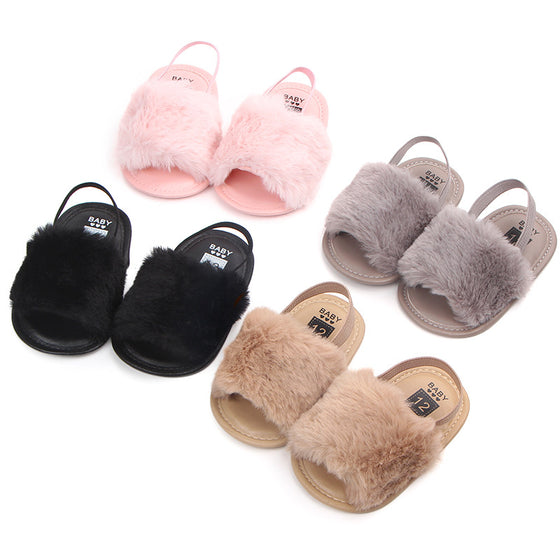Faux Fur Baby Slipper Sandals