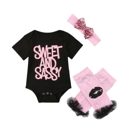Sweet and Sassy Onesie with Leg Warmers & Headband