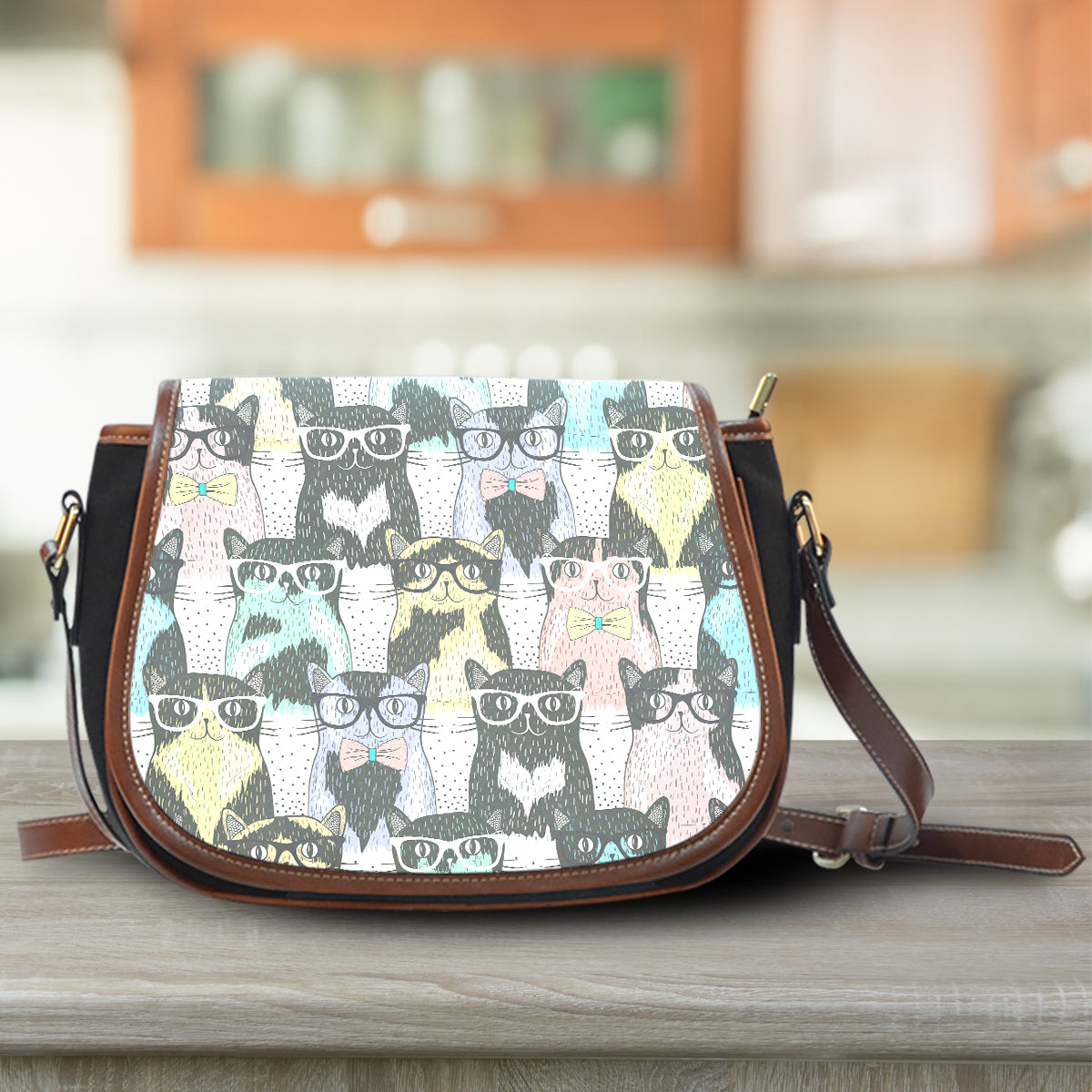 Cat Glasses Saddle Bag