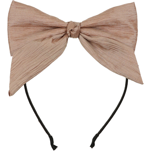 Crinkle Taupe/Pink Dolly Bow Headband