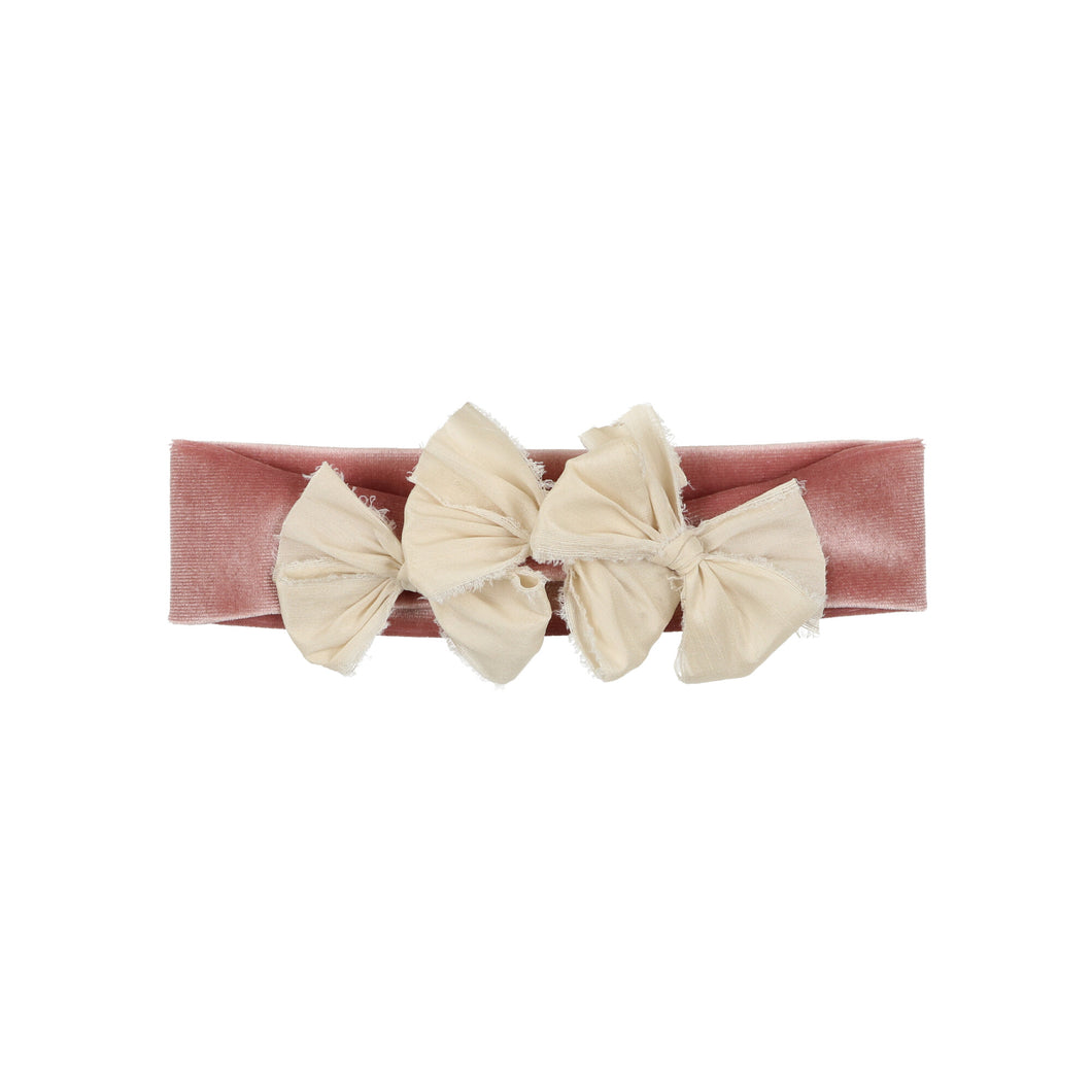 Ivory on Mauve Velvet Band Triple Bow